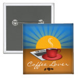 Coffee Lover Cafe Coffee Cup Square Custom Button Pin