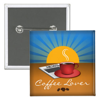 Coffee Lover Cafe Coffee Cup Square Custom Button