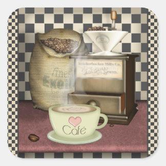 Coffee Lover Café Square Sticker