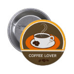 Coffee Lover Coffee Cup Coffee Beans Round Badge 2 Inch Round Button