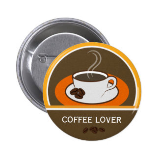 Coffee Lover Coffee Cup Coffee Beans Round Badge Pinback Button