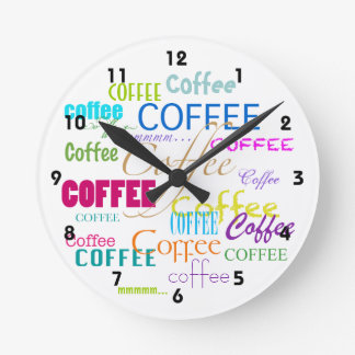 Coffee Lover-Colorful Coffee Word Cloud Round Wallclock