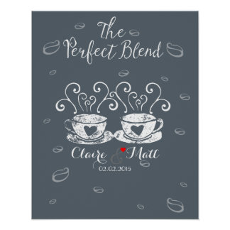 coffee lover hearts wedding signing guest book poster