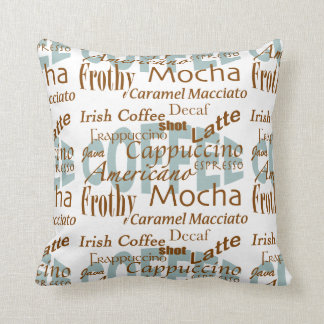 Coffee Lover-Names of Coffee Word Cloud Throw Pillows