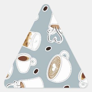 Coffee Lover Pattern Blue Triangle Sticker
