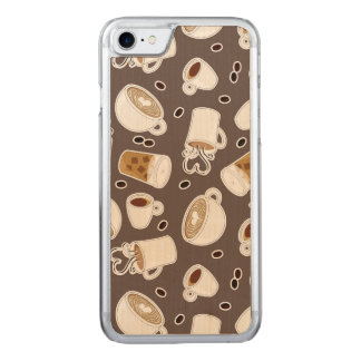 Coffee Lover Pattern Brown Carved iPhone 8/7 Case