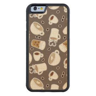 Coffee Lover Pattern Brown Carved Maple iPhone 6 Bumper Case