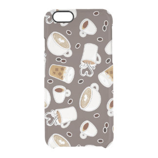 Coffee Lover Pattern Brown Clear iPhone 6/6S Case