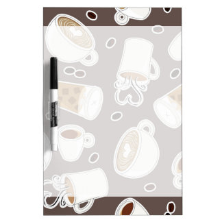Coffee Lover Pattern Brown / Grey Dry Erase Board