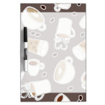 Coffee Lover Pattern Brown / Grey Dry-Erase Boards