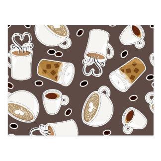 Coffee Lover Pattern Brown / Grey Postcard