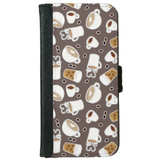Coffee Lover Pattern Brown iPhone 6/6s Wallet Case