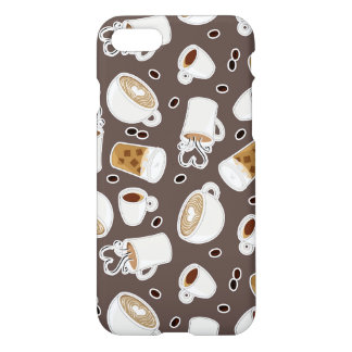 Coffee Lover Pattern Brown iPhone 8/7 Case