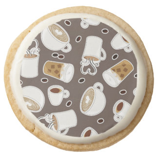 Coffee Lover Pattern Brown Round Shortbread Cookie