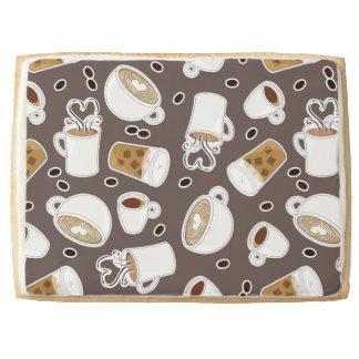 Coffee Lover Pattern Brown Shortbread Cookie