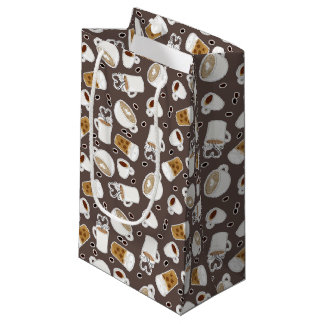 Coffee Lover Pattern Brown Small Gift Bag