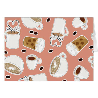 Coffee Lover Pattern Pink Card