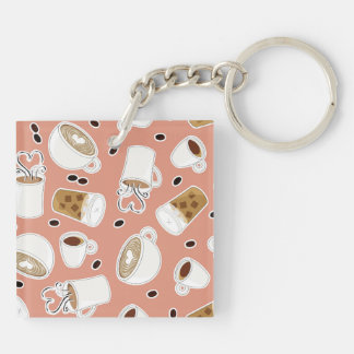 Coffee Lover Pattern Pink Keychain