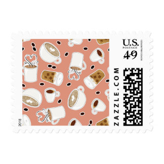 Coffee Lover Pattern Pink Postage