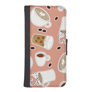 Coffee Lover Pattern Pink Wallet Phone Case For iPhone SE/5/5s