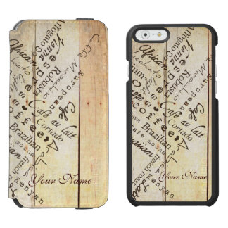 Coffee Lover Typography Art Weathered Barn Board iPhone 6/6s Wallet Case