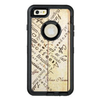 Coffee Lover Typography Art Weathered Barn Board OtterBox Defender iPhone Case