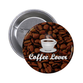 Coffee Lover, White Cup/Brown Beans 2 Inch Round Button