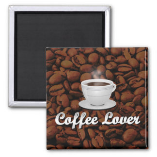 Coffee Lover, White Cup/Brown Beans 2 Inch Square Magnet