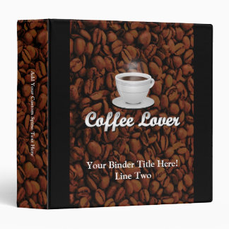 Coffee Lover, White Cup/Brown Beans 3 Ring Binder