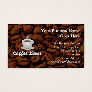 Coffee Lover, White Cup/Brown Beans Business Card