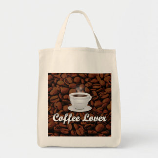 Coffee Lover, White Cup/Brown Beans Grocery Tote Bag