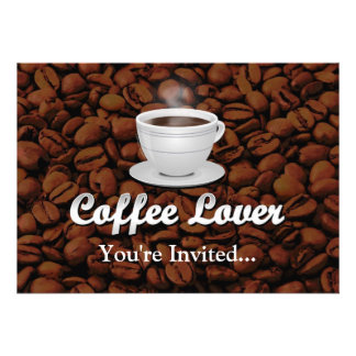 Coffee Lover, White Cup/Brown Beans Custom Announcement