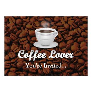 Coffee Lover White Cup Brown Beans Custom Announcement