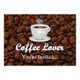"Coffee Lover, White Cup/Brown Beans 5"" X 7"" Invitation Card"