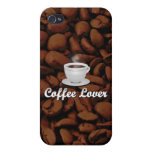 Coffee Lover, White Cup/Brown Beans iPhone 4 Case