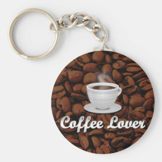 Coffee Lover, White Cup/Brown Beans Key Chains
