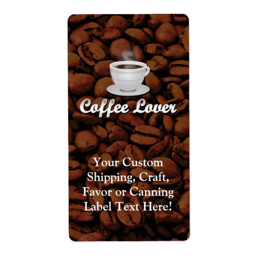 Coffee Lover, White Cup/Brown Beans Personalized Shipping Label
