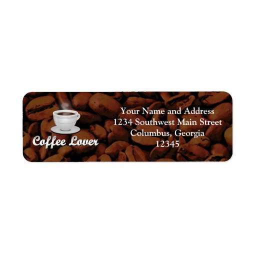 Coffee Lover, White Cup/Brown Beans Custom Return Address Label