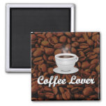 Coffee Lover, White Cup/Brown Beans Magnets