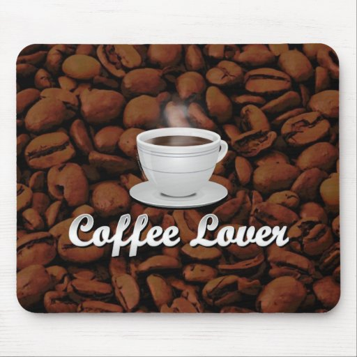 Coffee Lover, White Cup/Brown Beans Mousepad