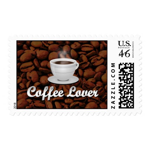 Coffee Lover, White Cup/Brown Beans Postage Stamp