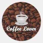 Coffee Lover, White Cup/Brown Beans Round Sticker