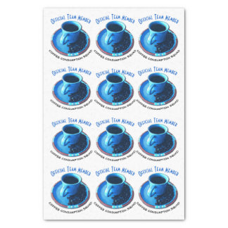 Coffee Lovers Blue Cup and Saucer Repeat Pattern Tissue Paper