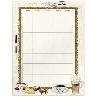 Coffee Lovers Custom Personalized Family Schedule Dry Erase Board