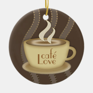 Coffee Lovers Double-Sided Ceramic Round Christmas Ornament