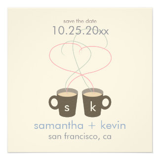 Coffee Lovers Save the Date Cream Felt Paper Invitations