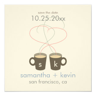 Coffee Lovers Save the Date: Cream Felt Paper 5.25x5.25 Square Paper Invitation Card