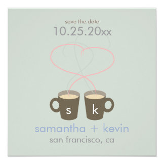 Coffee Lovers Save the Date 5.25x5.25 Square Paper Invitation Card