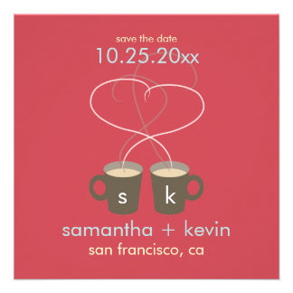 Coffee Lovers Save the Date Red Custom Invitations