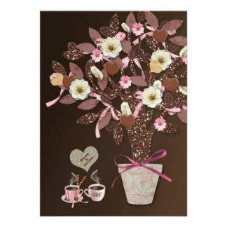 Coffee Lovers Sparkling Brown Wedding Invitation